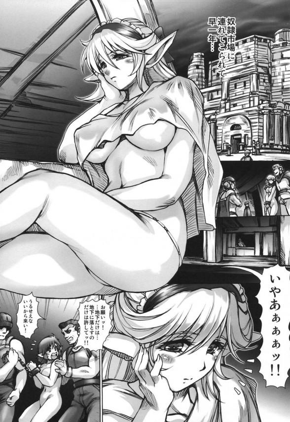 エルフの姫が奴隷市場の高級娼婦になって男達に陵辱プレイされちゃう!子宮に器具を付けられちゃって精子が逆流しないようにされちゃって子宮が精子で満タンwww【Slave market Elf1 同人誌・エロ漫画】 (4)