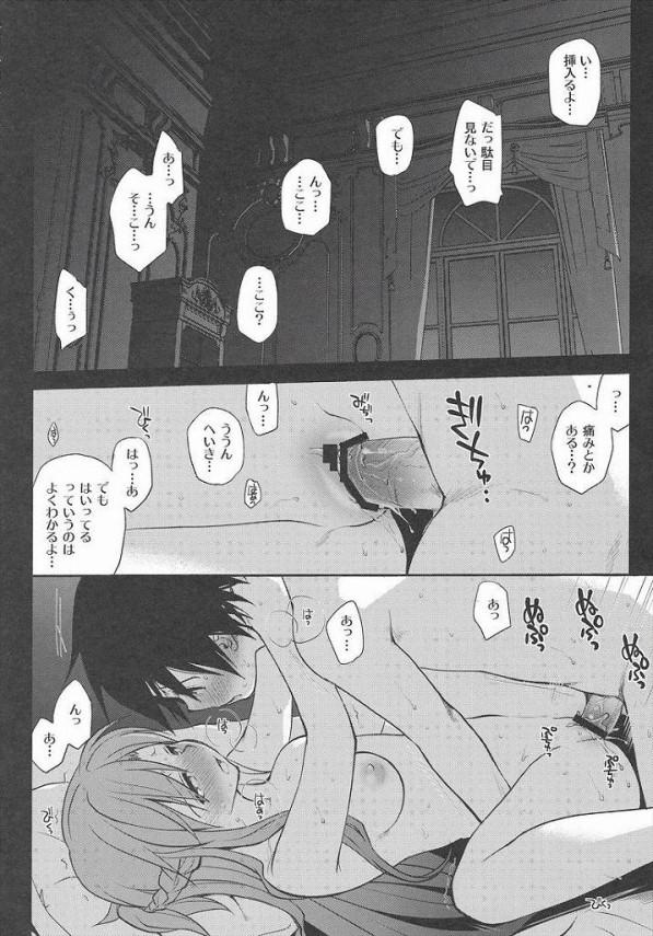 可愛いアスナちゃんがキリトとベットの上でいい感じのセックスしているよw見ないでとか言ってたアスナが青空の下でセックスおねだりして、マンコおっぴろげてるよ~wwwwww【SAO エロ同人誌・エロ漫画】 (1)