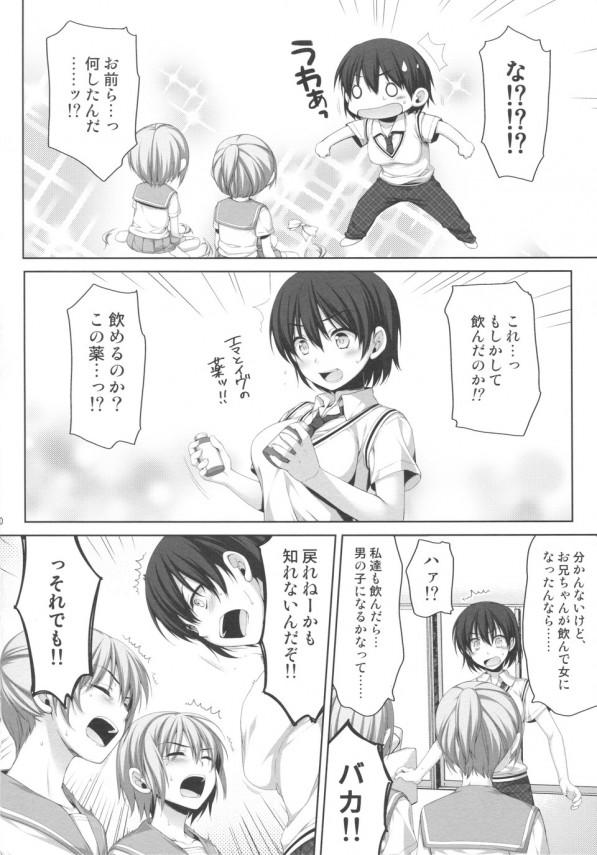 女になってしまった兄と男になった従妹二人が性転換生ハメ3Pセックスwww【エロ漫画・エロ同人】 (9)