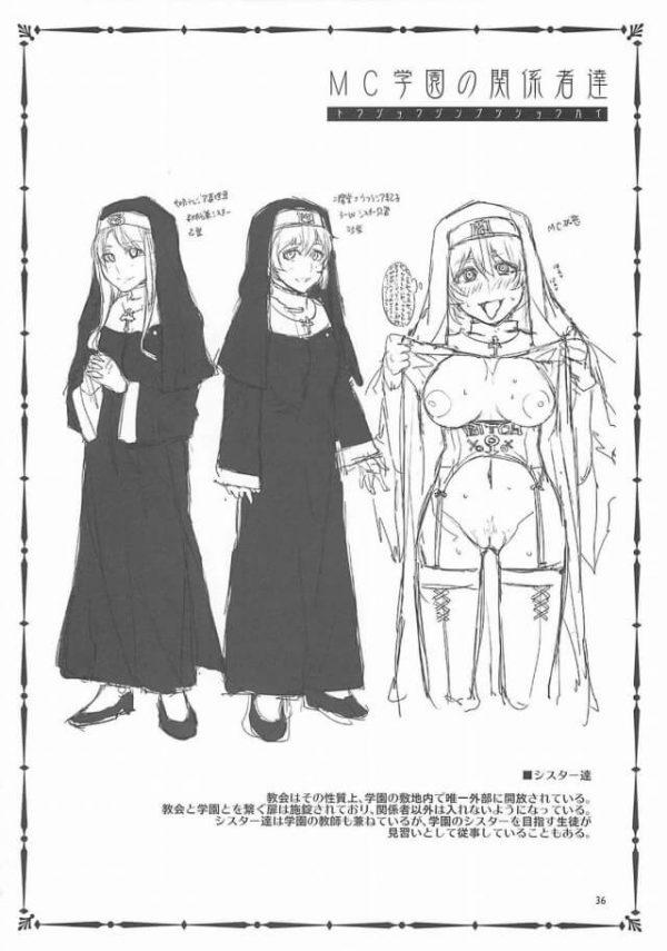 【エロ同人】鐘がなるとみんな催眠にかかって淫乱になる聖マリア・クリストス学園。取材先との約束まで時間がある男は教会でシスターたちの淫乱な姿を見てしまい、困惑しているところに一人の少女が助けを求めてきて・・・ (37)
